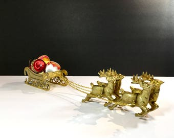 Vintage Brass Reindeer and Sleigh Christmas Decor Santa Sleigh and 4 Harnessed Reindeer Vintage JC Penney Brass 1970s