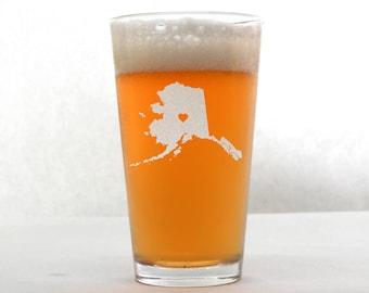 Alaska Pint Glass - State Pint Glass - Pint Glass - Personalized Pint Glass - Wedding Pint Glass - Etched Pint Glass - Groomsmen Pint Glass
