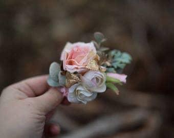 Flower hair clip Hair clip romantic wedding peache gold Hair clip with boho hairstyle Hair accessories