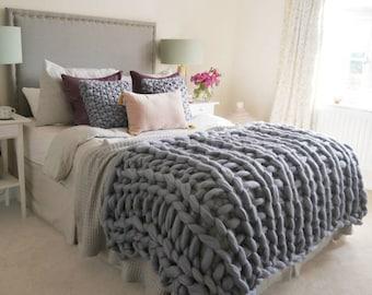 Super Chunky Knit Blanket Chunky Knit Blanket  21 micron Merino Wool 50 x 70 Natural Grey