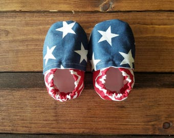 0-6 patriotic baby shoes, infant crib shoes, star fabric moccasins, cloth baby booties, America baby