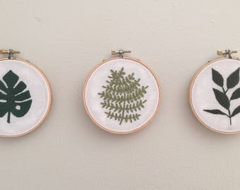 "Greenery Embroidery | 4"" Embroidery Hoop 