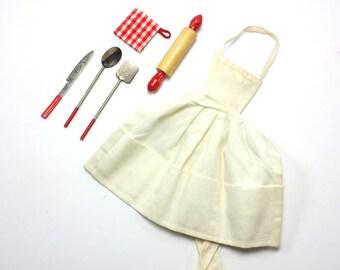 """Vintage Barbie Clothes """"Barbie Q"""" BBQ Ensemble   #962    1959 – 1962 Mattel   Apron, Rolling Pin, Potholder, Knife, Spatula, Spoon"""