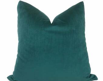 "Teal Green Libretto Microfiber Velvet Pillow Cover, Fits 12x18 12x24 14x20 16x26 16"" 18"" 20"" 22"" 24"" Cushion Inserts"