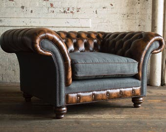 SALE!! Vintage leather & Grey wool Chesterfield snuggle chair/loveseat 2 seater. British handmade. Top quality. Bespoke. FREE uk delivery.