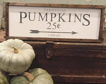 Farm Fresh Pumpkins Sign. Farmhouse Sign. Fall Decor.