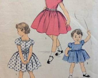 Advance 6753 girls dress size 6 vintage 1950's sewing pattern