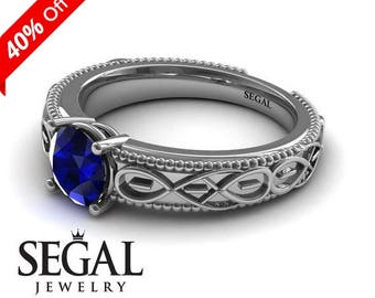 Filigree Engagement Ring White Gold 1930s Ring Antique Engagement Ring Blue Sapphire Ring Art Deco Ring Filigree Engagement Ring - Liliana