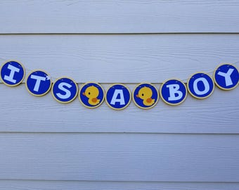 Rubber Ducky Banner... It's a Boy... Baby Boy... Baby Shower... Welcome Baby... Party Decor