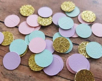 Mint, Pink and Gold Confetti... Party Decorations... Baby Girl... Baby Shower
