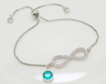 December Swarovski Crystal Birthstone, Infinity forever Adjustable Bracelet