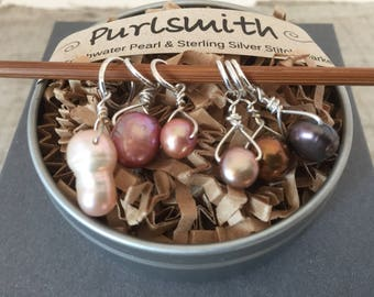 Grayce Mix Freshwater Pearl & Sterling Silver Stitch Markers for Knitting,Set of 6,Knitting Notions, Gift for Knitter