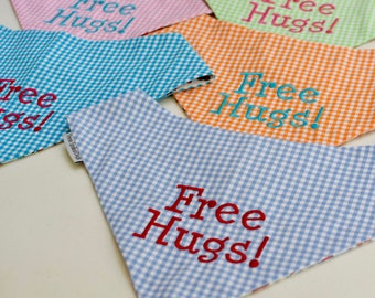 Free Hugs! Turquoise Gingham Bandana || Reversible Dog Bones Classic Tie Pet Scarf || Puppy Gift by Three Spoiled Dogs