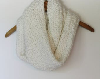 White Bubble Infinity Scarf