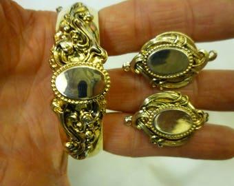 J5 Vintage Bracelet and Matching Clip-on Earring Set.
