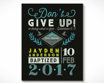 Retro Style JW Baptism Print Keepsake for Jehovahs Witnesses. Location, Date, Name, Assembly Theme - Customized for you.