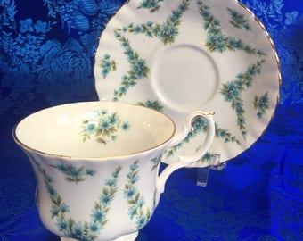 Royal Albert Shot Silk Green Bone China Tea Cup and Saucer England