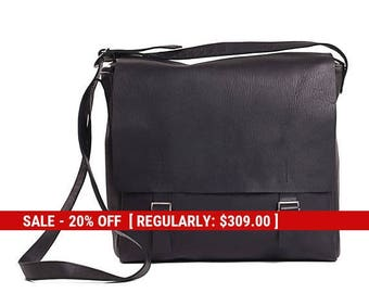 black leather satchel bag - leather messenger bag women - messenger bag leather - black crossbody bag - crossbody leather bag - SASCB
