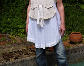 top/tunic with straps in ticking, laces and white/ecru cotton voile
