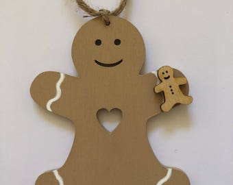 Handmade Wooden Gingerbread Man with 'Icing' Hanging Decoration/Bauble