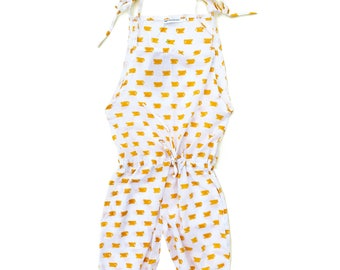 Cotton jumpsuit, Organic jumper, girl jumpsuit, coffee cups print jumpsuit, tea cup print jumpsuit, Trendy girl clothes, Girl summer fashion