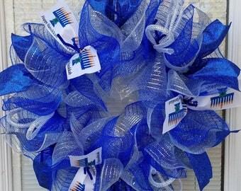 Hanukkah Wreath, Happy Hanukkah Wreath, Blue Silver Wreath, Mesh Wreath, Ribbon Wreath