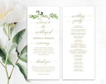 Greenery Wedding Program Template, Printable Wedding Programs, Wedding Program Template, Editable Text, Tea Length, Gold Garden