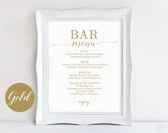 Bar Menu Sign, Printable Bar Menu Sign Template, Gold Wedding Bar Menu Sign, DIY Printable Wedding Sign