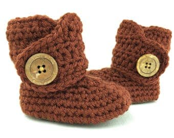 Ugg Boots for Girls, Neutral Baby Booties, Brown Leather Crib Shoes, Gold Infant Boots, Gender Neutral Baby Clothes, Bronze New Baby Uggs