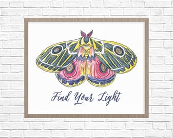 Inspirational Quote Art Print // Butterfly Moth Art Printable // Watercolor