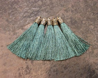 Teal Green Silk tassels with Antique Silver Filigree Caps Beautiful tassels for Jewelry Making Fall Color Tassels