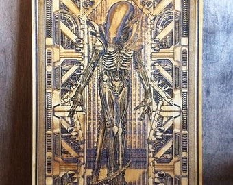 Xenomorph, Anniversary Gifts for Men, Alien Movie, HR Giger, Alien Poster, Alien Xenomorph, Geek Gift, Geek Wall Art, Art Print Wood