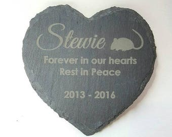 Personalised Engraved Heart Shape Natural Slate Pet Memorial Grave Marker Plaque - choose your own words and silhouette