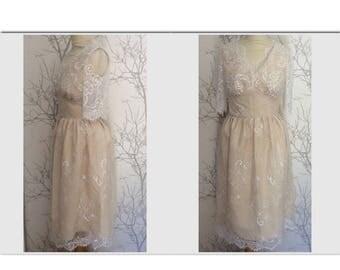 Silk and lace wedding dress, size 40