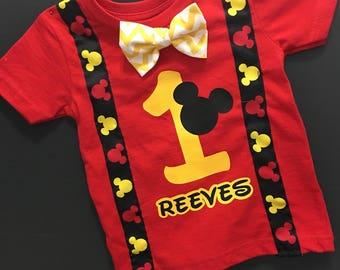 Custom Boy's Mickey Mouse Birthday shirt with bow tie