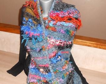 """Alhambra"" scarf ""chunky knit, mohair, handspun yarn."""