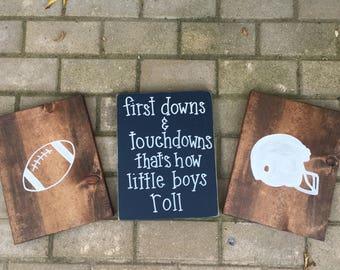 Boys bedroom decor, football bedroom decor, football decor, thats how little boys roll,boys signs