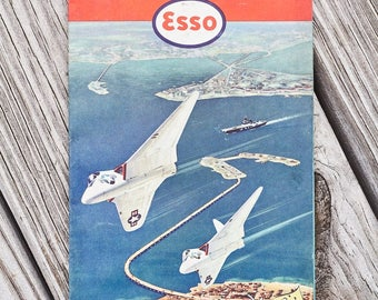 Vintage Esso road map from 1959 fromthe Hampton Roads area