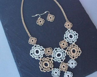 Gold and Silver Filigree Metallic Floral Style Necklace and Earrings Set