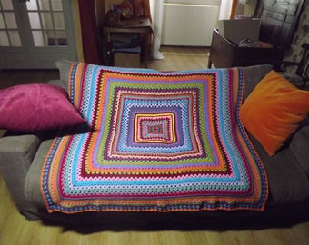 Square crocheted, multicolored Plaid wool/acrylic