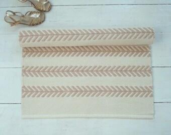 Ivory and Beige Flatweave Rug, Scandinavian Rug, Pastel Rug, Cream Rug, Off White Rug, Handmade,  Woven on the Loom, Made to Order