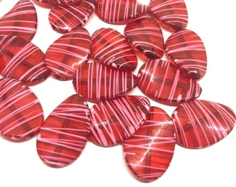 Red Oval Beads painted with pink stripes, 36mm bangle, statement necklace, red beads, bangle beads, red pink beads, pink necklace, red