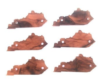 Tortoise Shell Kentucky 1.5 Inch Acrylic State Cutout with 2 Holes, bangle bead jewelry making, kentucky jewelry, kentucky bracelet, brown