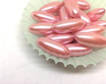 Blush Pink 33mm Beads, SHIMMER Pod Collection, pink beads, large acrylic tube beads, pink jewelry bangle, wire bangle, jewelry making