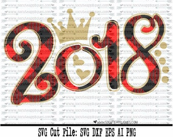New Years SVG, Plaid 2018 SVG, Happy New Year svg, New years svg, 2018 svg, Seniors 2018 SVG, New years cut file, socuteappliques