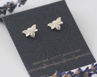 Silver Bee Earrings, bee jewellery, dainty earrings, nature earrings