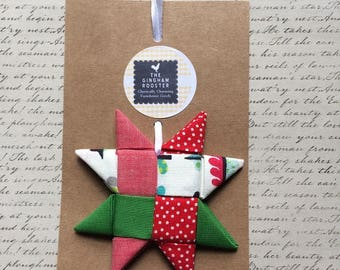 Red Green Fabric Star Ornament Folded Fabric Star Scandinavian Fabric Star Christmas Ornament