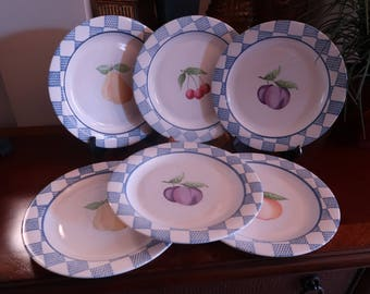 "Pfaltzgraff ""Hopscotch"" Pattern Dinner Plates, Blue Plaid and Fruit Pattern, Set of 6, Vintage"