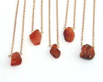 Raw Carnelian Necklace / Carnelian Jewelry / Healing Crystal Pendant / Gemstone Necklace / Crystal Jewelry / Gemstone Of Happiness