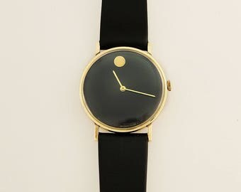 Authentic Vintage 14K Solid Yellow Gold Movado Museum Watch